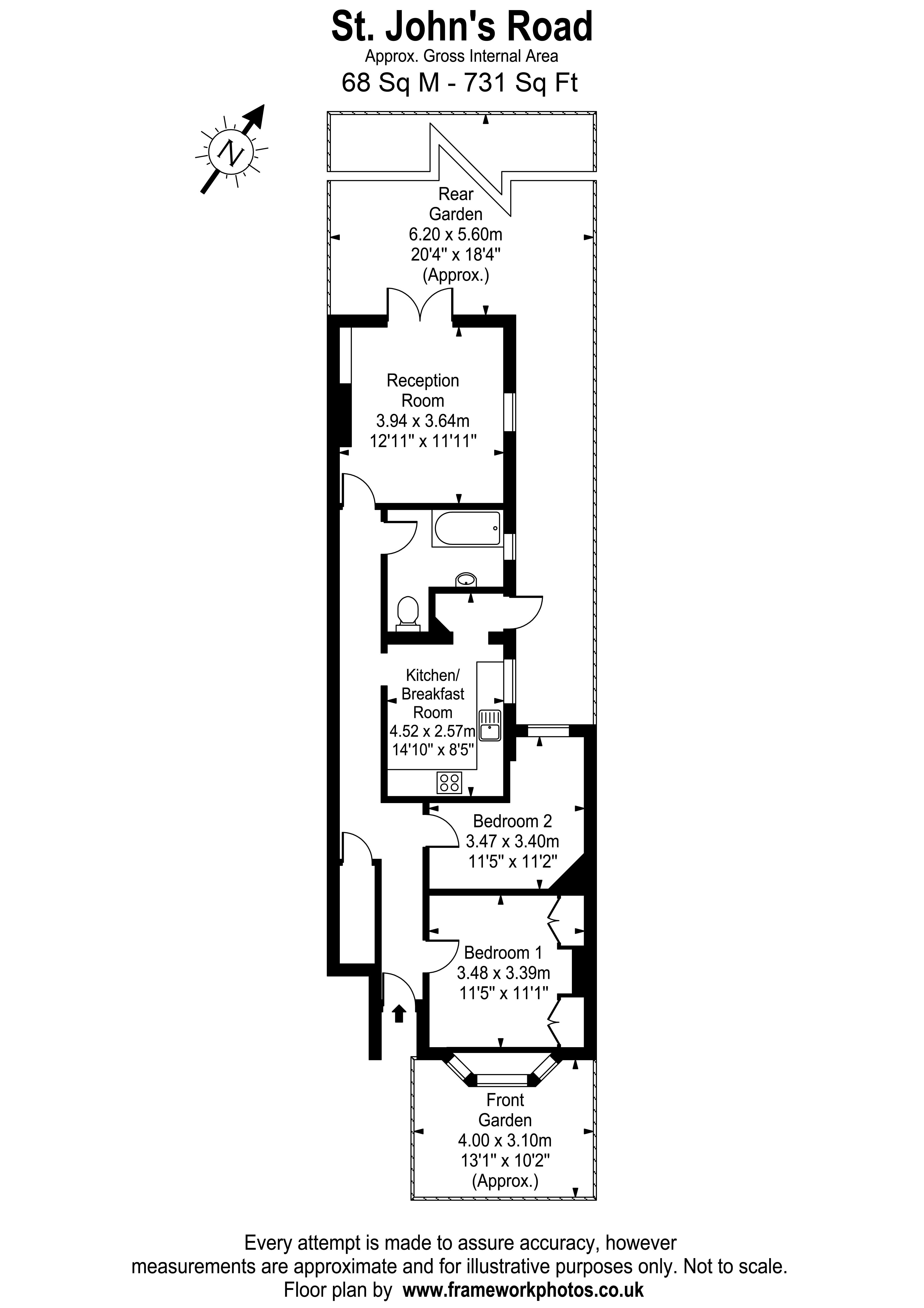 Floorplans For St. Johns Road, Hampton Wick